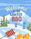Winter outdoors concept. Cartoon retro style poster. Welcome invitation to barbecue picnic. Season holiday leisure banner background. Mountain ski resort royalty free illustration