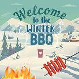 Winter outdoors concept. Cartoon retro style poster. Welcome invitation to barbecue picnic. Season holiday leisure banner background. Mountain lake snow valley vector illustration