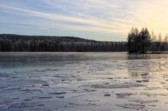 Winter Outdoors Lake Ice Forest Stock Photography