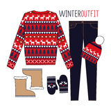 Winter outfit. Fashion Illustration. Scandinavian sweater style. Stock Photo