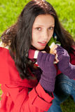 Winter outfit portrait of beautiful female model Royalty Free Stock Images