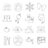 Winter outline icons Royalty Free Stock Photos