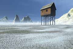 Winter Outpost. A solitary outpost in a cold winter landscape. Space in the foreground suitable for adding text or images royalty free illustration