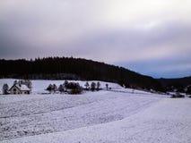 Winter over Kashubian hills, Wiezyca, Poland stock photo