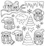 Winter owl drawings theme 1 Royalty Free Stock Images