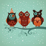 Winter owls. Vector illustration for greeting card Royalty Free Stock Images