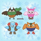 Winter owls. Set of owls in winter things on a dark blue background with snowflakes Stock Photo