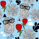 Winter owls seamless background. Stock Photo