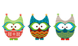 Winter owls. Set of cute winter owls Royalty Free Stock Image