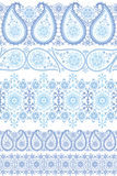 Winter Paisley lace seamless border set Stock Images