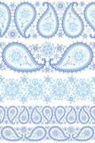 Winter Paisley seamless border set Stock Images