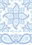 Winter Paisley seamless  pattern and border set Royalty Free Stock Images