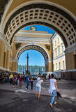 Winter Palace and Alexander Column through the Arch of General S. ST. PETERSBURG, RUSSIA - JULY 12, 2016: Winter Palace and Alexander Column through the Arch of Stock Photo