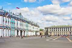 Winter Palace and Alexander Column on Palace Square Stock Photography
