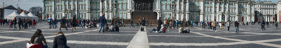 Winter Palace and Alexander Column on Palace Square in St. Petersburg Dvortsovaya Ploshchad Stock Photo