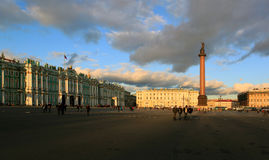 Winter Palace and Alexander Column in St. Petersburg city Stock Images