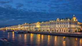 The winter Palace day to night timelapse and pier on the Palace embankment in summer in Saint-Petersburg stock video