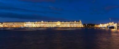 Winter Palace, Hermitage Museum by night, panorama Stock Photos