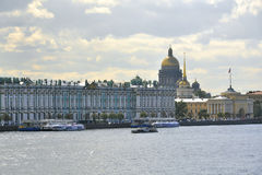 Winter Palace, Hermitage museum in St.Petersburg. The heart of Saint-Petersburg: view on the Winter Palace (the Hermitage museum) and Issakiy Cathedral from Royalty Free Stock Images