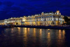 The winter Palace illuminated , reflection in the water of the r Stock Photos