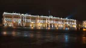 Winter Palace by night Stock Photos