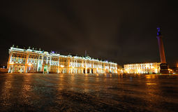 Winter Palace at night. Winter Palace and Alexander Column on Palace square in Saint Petersburg Royalty Free Stock Photo