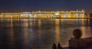 Winter Palace at night Royalty Free Stock Images