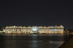 Winter Palace at night Stock Photos