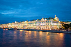 The Winter Palace from Palace embankment during the white nights. Saint Petersburg Stock Image