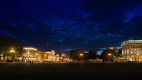 The Winter Palace from Palace Square in night.St. Petersburg. stock video footage