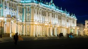 The Winter Palace from Palace Square in night.St. Petersburg. stock footage