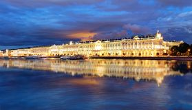 Winter Palace in Saint Petersburg at night, Russia. Hermitage stock photos