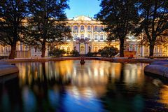 Winter Palace in Saint Petersburg at night, Russia. Hermitage stock photo