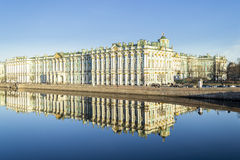 Winter Palace in St.-Petersburg and Reflection in Neva River Stock Images