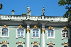 The decoration of facade of the Winter Palace, Saint Petersburg, Russia. The Winter Palace was the official residence of the Russian monarchs. Today, the stock photo