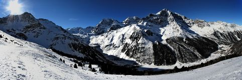 Winter panorama. Winter alpine panorama - Solda, Italy Royalty Free Stock Photography