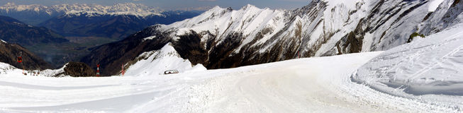 Winter Panorama. Mountains full of snow and ski resort in Austria Royalty Free Stock Photography