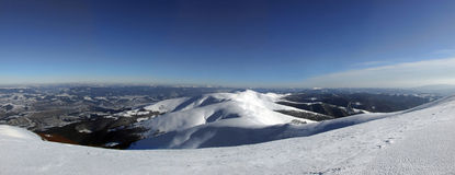 Winter panorama. Panoramic picture taken from the top of the mountain Stock Images