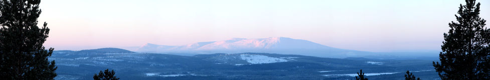 Winter Panorama. Panorama view of the skyline, a winter morning in the north of Scandinavia Stock Photography