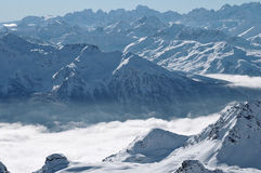 Winter panorama. Fresh fallen snow in the Alps near Val Thorens, France Stock Photos