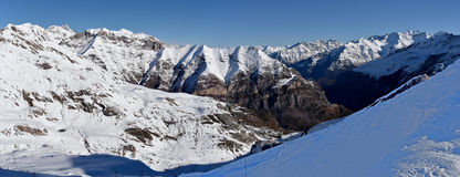 Winter panorama around Gavarnie Gedre ski resort Royalty Free Stock Images