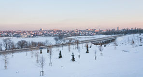 Winter panorama of the city and the park Royalty Free Stock Images