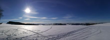 A winter panorama in the Erzgebirge stock images