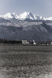 Winter panorama on the fields of north-east Italy Royalty Free Stock Photography