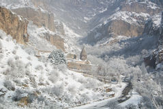 A winter panorama of Geghard Monastery. Unique architectural construction and a UNESCO World Heritage in Armenia Stock Photos
