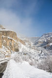 A winter panorama of Geghard Monastery. Unique architectural construction and a UNESCO World Heritage in Armenia Royalty Free Stock Photography