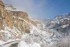 A winter panorama of Geghard Monastery. Unique architectural construction and a UNESCO World Heritage in Armenia Stock Photo