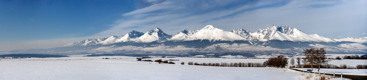 Winter panorama of high tatry mountains Stock Photography