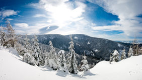 Winter panorama in the hills Royalty Free Stock Photos