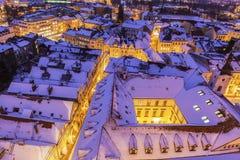 Winter panorama of Hradec Kralove Royalty Free Stock Photography